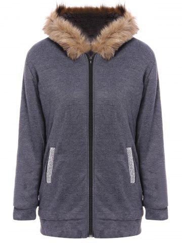 Faux Fur Trim Hooded Zip Up Coat - Deep Gray - M