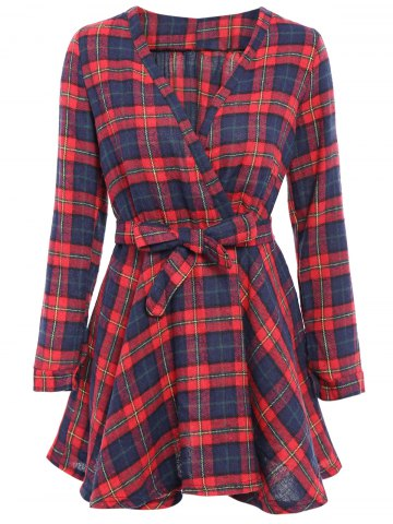 Fashion Mini Long Sleeve Checked A Line Shirt Dress - ONE SIZE(FIT SIZE XS TO M) CHECKED Mobile