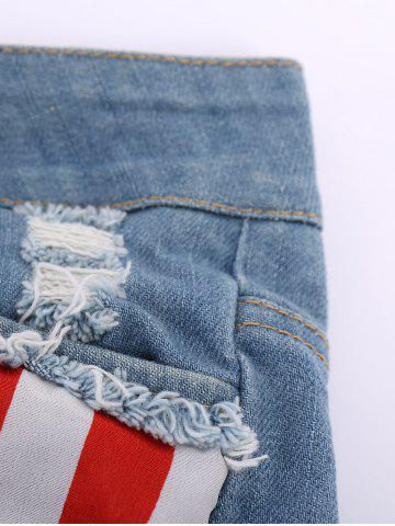 Chic Low-Waisted American Flag Denim Micro Shorts - S COLORMIX Mobile