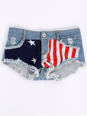 Shops Low-Waisted American Flag Denim Micro Shorts COLORMIX S