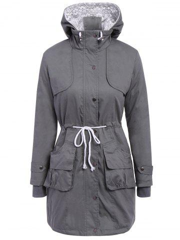 Buy Chic Long Sleeve Solid Color Pocket Coat For Women - XL DEEP GRAY Mobile
