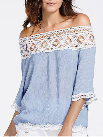 Online Lace Insert Off The Shoulder Blouse