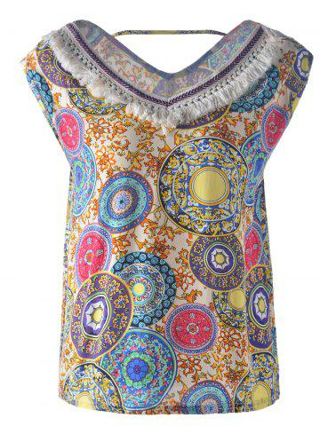 Outfits Bohemian Fringe Cut Out V Neck Design Tank Top For Women