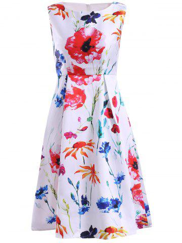 Latest Women's Refreshing Jewel Neck Sleeveless Floral Print Dress WHITE XL