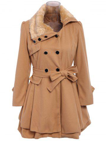 New Stylish Turn-Down Neck Long Sleeve Spliced Button Design Lace-Up Women's Coat CAMEL L