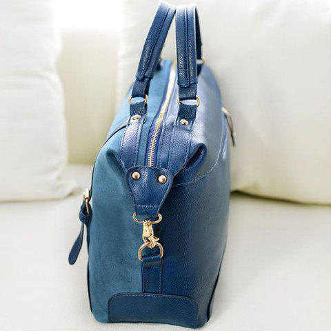 Outfit Street Style Splice and Buckles Design Women's Tote Bag - BLUE  Mobile