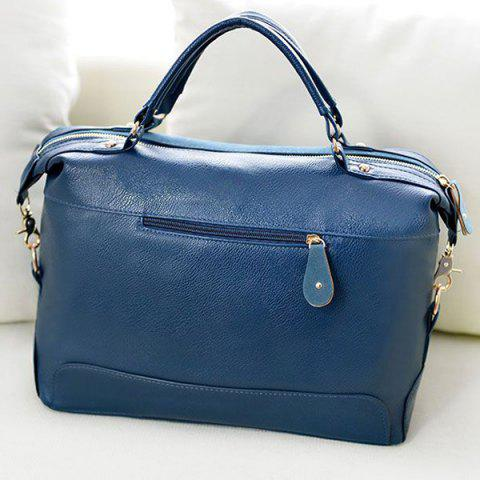Chic Street Style Splice and Buckles Design Women's Tote Bag - BLUE  Mobile