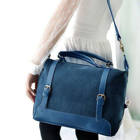 Trendy Street Style Splice and Buckles Design Women's Tote Bag - BLUE  Mobile