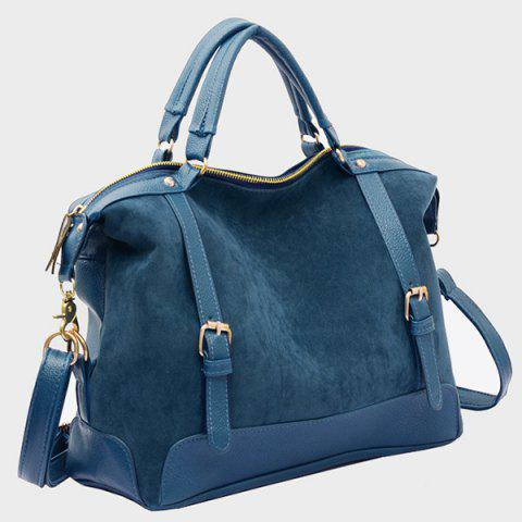 Shop Street Style Splice and Buckles Design Women's Tote Bag - BLUE  Mobile