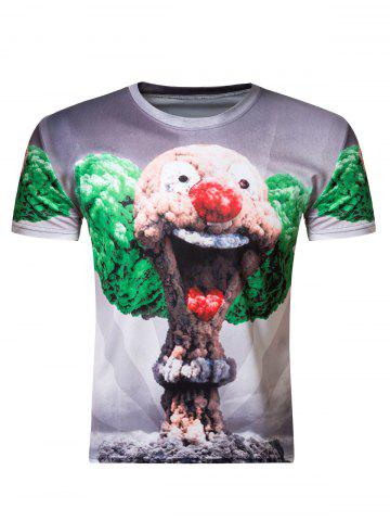 Buy 3D Round Neck Clown Mushroom Cloud Print Short Sleeve Men's T-Shirt COLORMIX 2XL