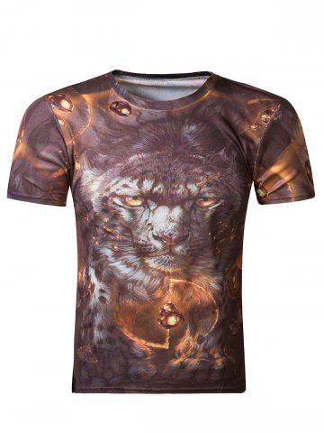 Hot Fashion 3D Round Neck Tiger Print Short Sleeve Men's T-Shirt COLORMIX 2XL