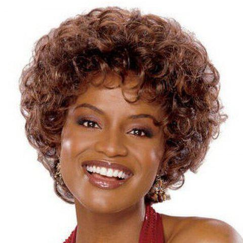 Sale Fashion Short Brown Synthetic Shaggy Afro Curly Capless Wig For Women