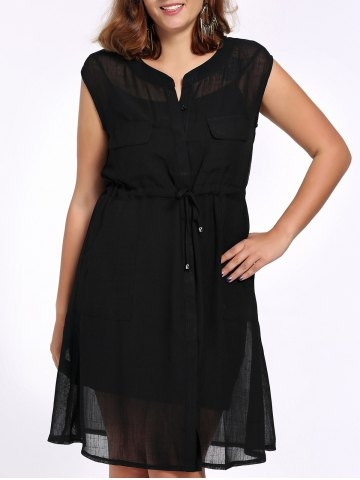 Shop Chic Plus Size Cami Dress + Sleeveless Solid Color Cardigan Women's Twinset