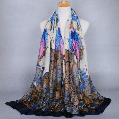 Best Chic Retro Buildings and Constellation Pattern Shawl Wrap Scarf For Women