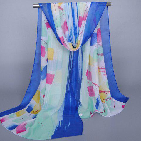 Unique Chic Bright Color Splash-Ink Pattern Sunscreen Shawl Wrap Chiffon Scarf For Women SAPPHIRE BLUE