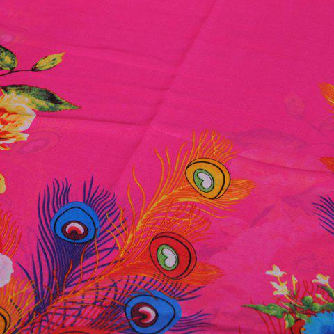 Chic Chic Flowers Peacock Feathers Pattern Sunscreen Shawl Wrap Chiffon Scarf For Women - YELLOW  Mobile