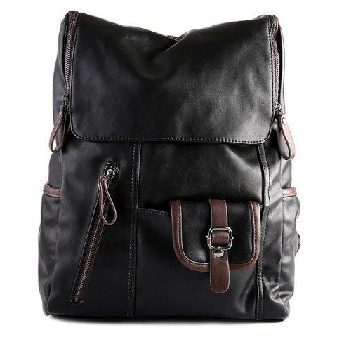 Store Fashion Zippers and Hit Colour Design Backpack For Men BLACK