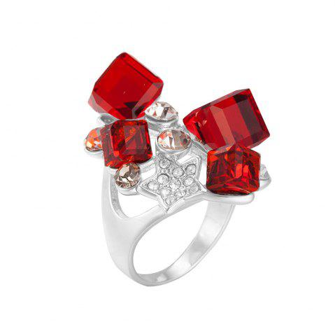 Faux Ruby Rhinestone Star Ring - Red - One-size