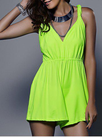 Hot Stylish Plunging Neck Sleeveless Solid Color Romper For Women