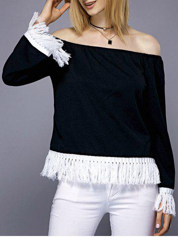 Discount Fashionable Off-The-Shoulder Fringe Design Long Sleeve Blouse For Women