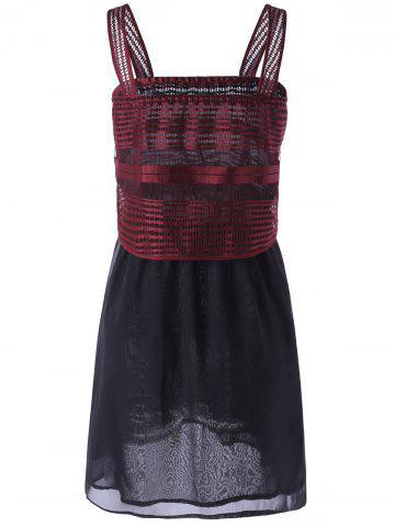 New Square Neck Openwork Overlay Mini Dress - XL RED Mobile