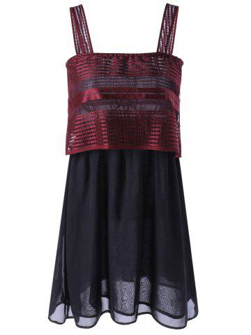 Outfits Square Neck Openwork Overlay Mini Dress RED XL