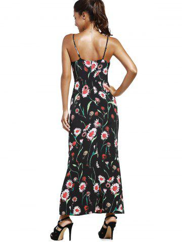 Cheap Floral Slit Long Cami Summer Dress - M BLACK Mobile