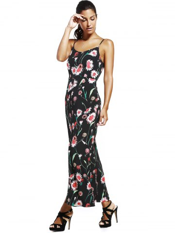 Fashion Floral Slit Long Cami Summer Dress - M BLACK Mobile