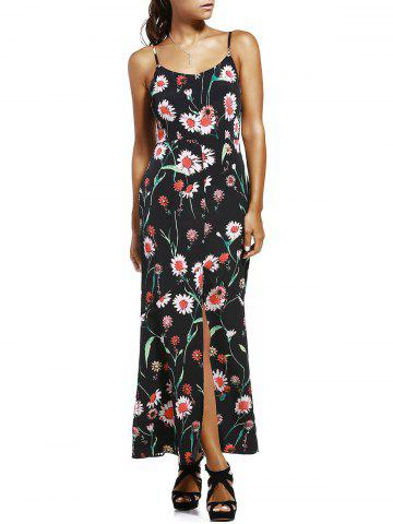 Unique Floral Slit Long Cami Summer Dress - S BLACK Mobile