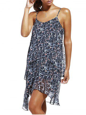 Cheap Fashioable Flower Printing Rippled Edge Spaghetti Strap Dress For Woman COLORMIX XL