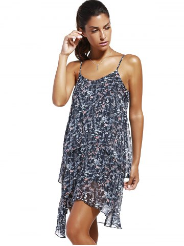 Shop Fashioable Flower Printing Rippled Edge Spaghetti Strap Dress For Woman - S COLORMIX Mobile
