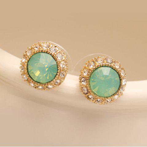 Discount Pair of Rhinestoned Circular Stud Earrings