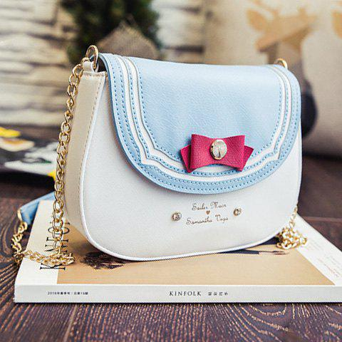Fashion Sweet Color Block and Bow Design Crossbody Bag For Women LIGHT BLUE