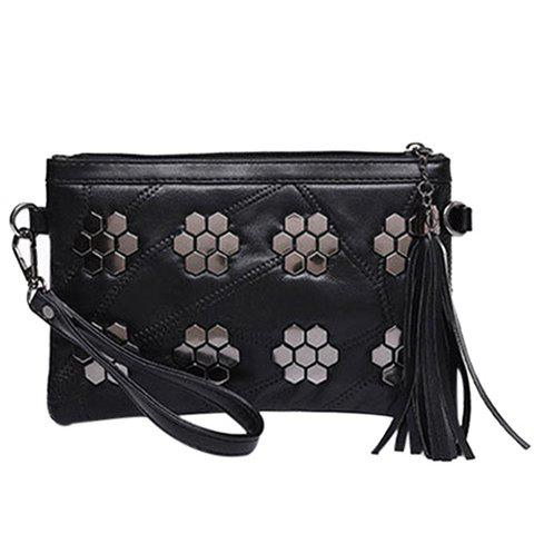 Store Trendy Metal and Stitching Design Clutch Bag For Women