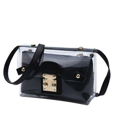 Store Trendy Transparent and Hasp Design Crossbody Bag For Women - BLACK  Mobile