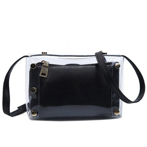 Unique Trendy Transparent and Hasp Design Crossbody Bag For Women - BLACK  Mobile