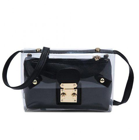 New Trendy Transparent and Hasp Design Crossbody Bag For Women - BLACK  Mobile