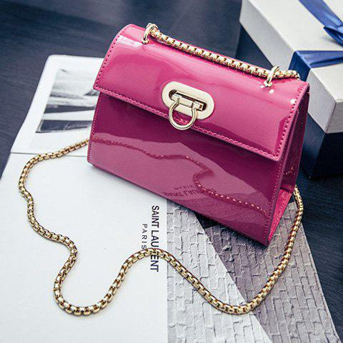 Store Chic Patent Leather and Hasp Design Crossbody Bag For Women