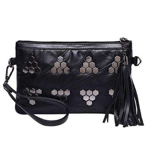 Fashion Trendy Metal and Black Design Clutch Bag For Women