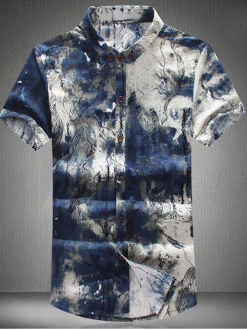 New Funny Ink Painting Pattern Shirt Collar Short Sleeves Plus Size Button-Down Shirt For Men