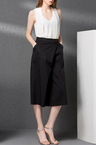 New V-Neck Tank Top and Solid Color Wide Leg Pants Twinset