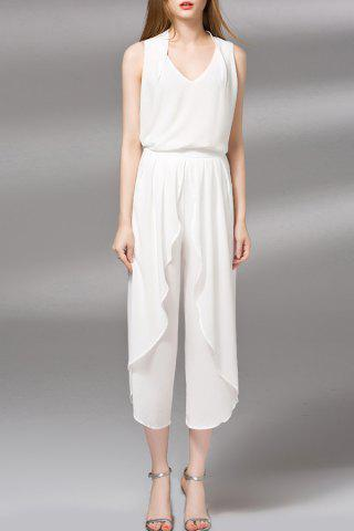 Affordable V-Neck Tank Top and Pure Color Wide Leg Pants Twinset