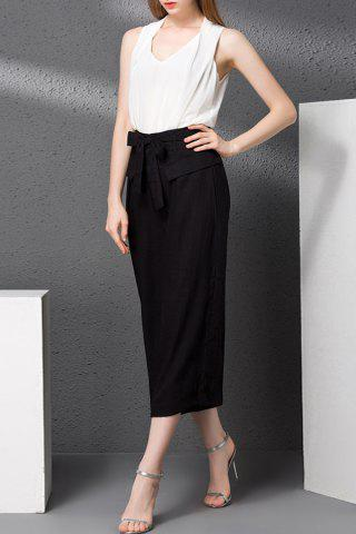 Discount V-Neck Tank Top and Bowknot Waist Wide Leg Pants Twinset