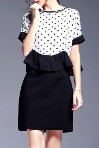 Chic Flounce Ruffles Polka Dot Dress