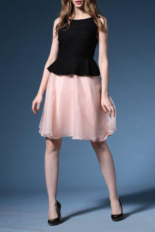 Latest Color Splicing Backless Tank Dress