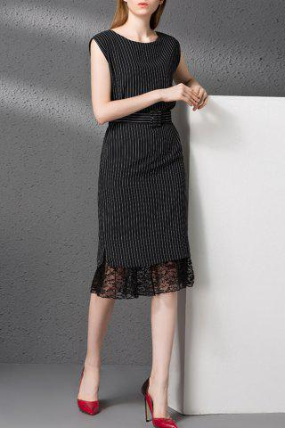 Latest Striped Lace Spliced Belted Dress