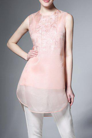 Affordable See Through Flower Embroidered Sleeveless Dress