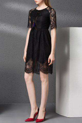 Outfit Lace Hollow Out Solid Color Dress