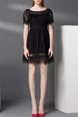 Affordable Fringed Embellished Zippered Hollow Out Dress