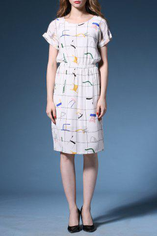 Outfit Round Neck Chair Pattern Slit Dress